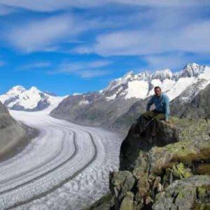 panorama ghiacciaio di Fiesch Svizzera, ricerca minerali